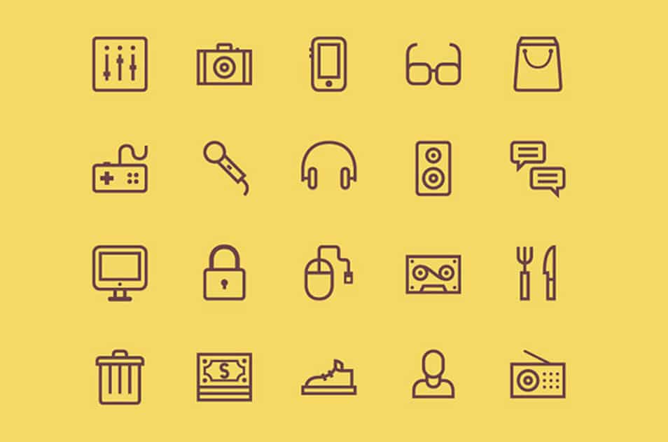 20 outline icons PSD