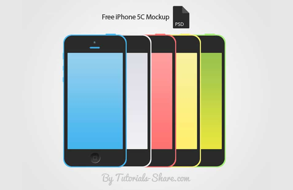 Free iPhone 5C Mockup PSD – 5 Colors