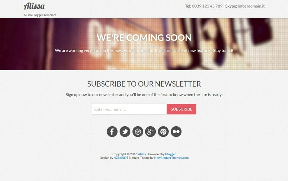 Alissa Responsive Coming Soon Blogger template