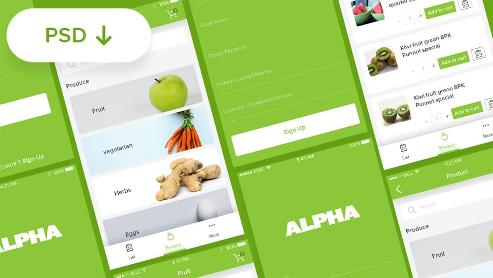 Alpha Fruit App UI PSD