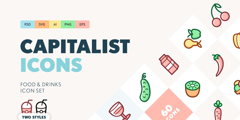 Capitalist Food and Drinks SVG Icon Set