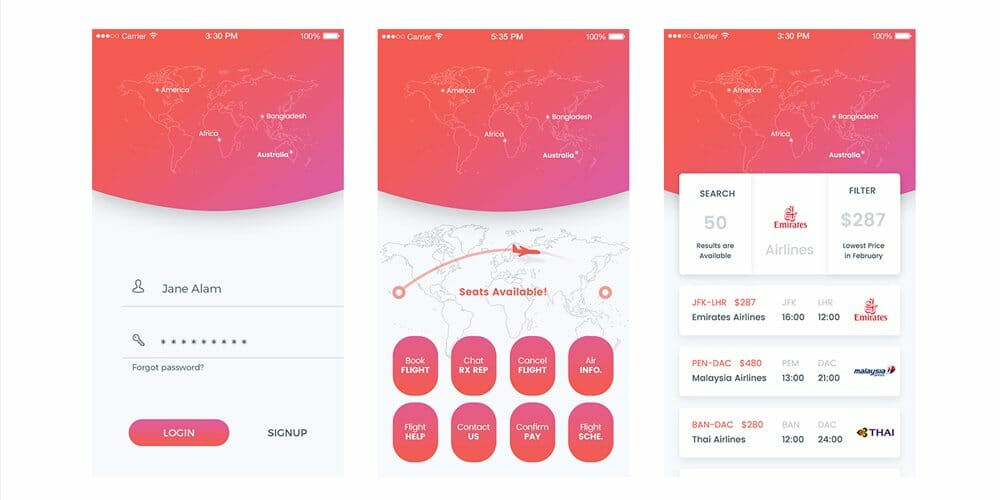 Flight 71 Free Mobile App UI PSD