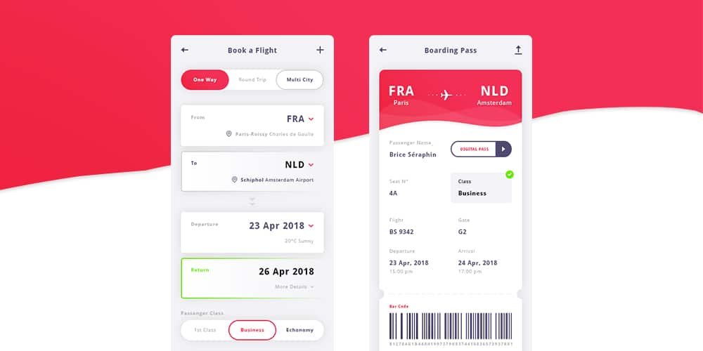 Flight App UI Kit PSD