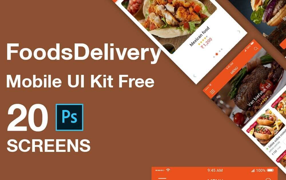 Foods Delivery Mobile App UI Kit PSD