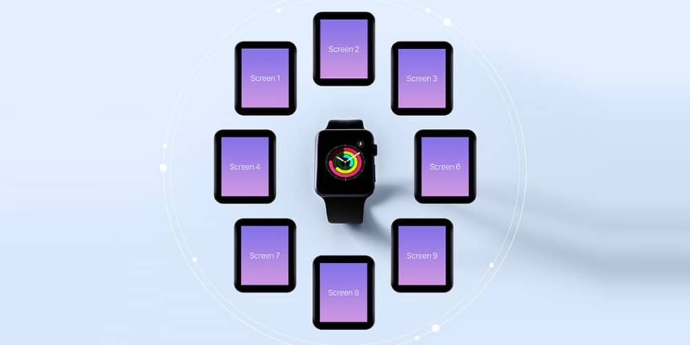 Free Apple Watch App Screen Mockup PSD