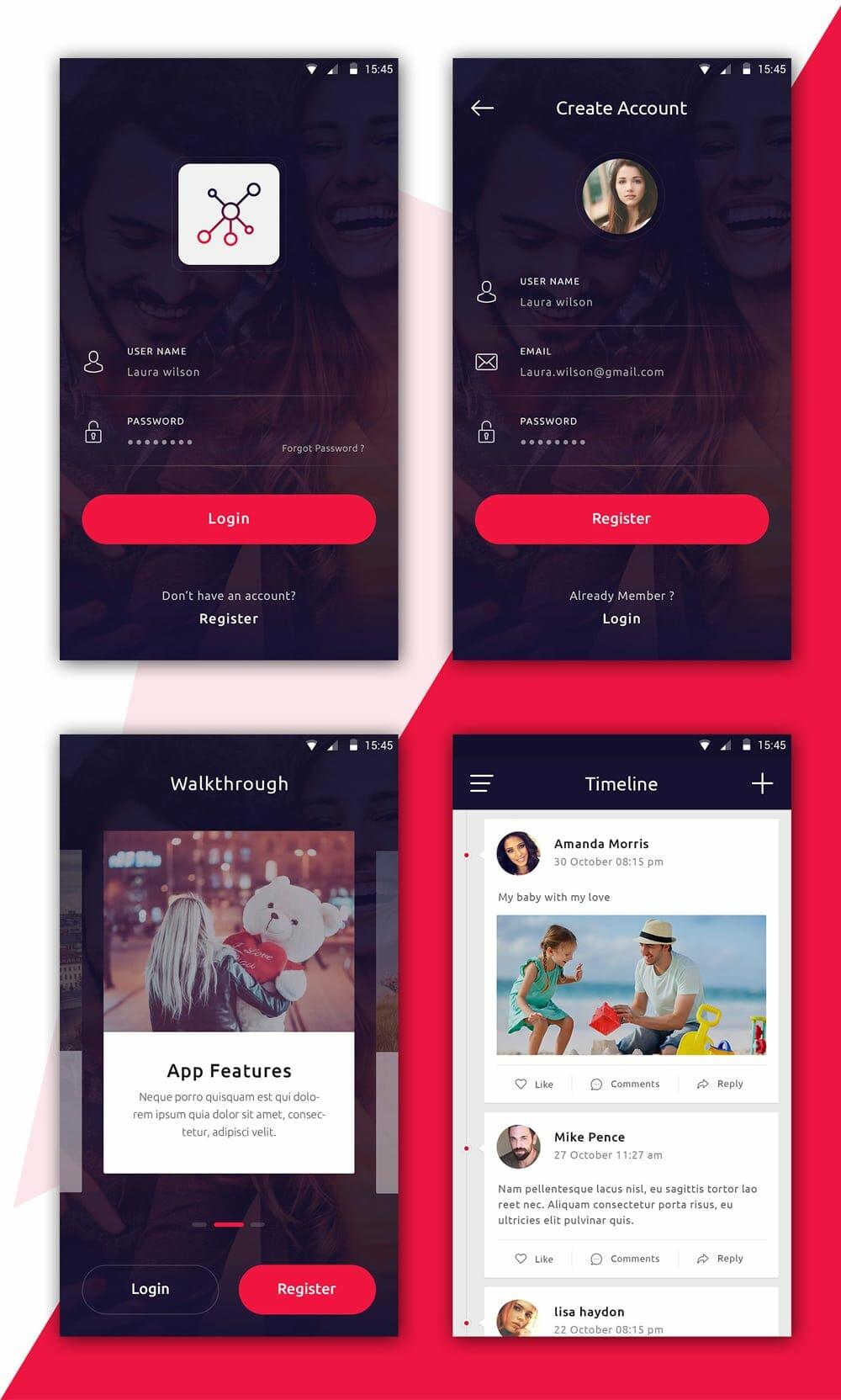 Latest free mobile app ui psd designs css author