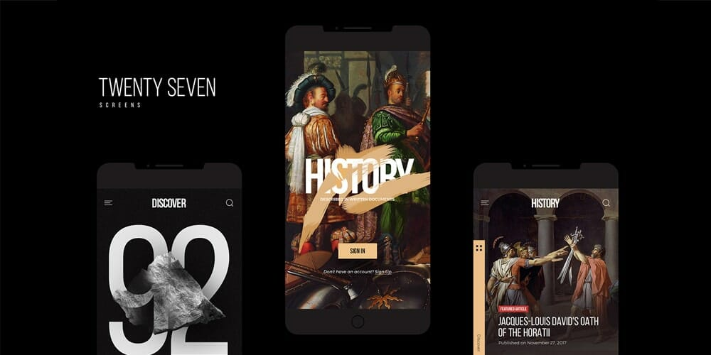 History Mobile App Kit PSD