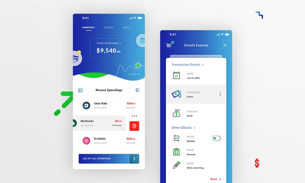 Money Spending IOS App UI PSD