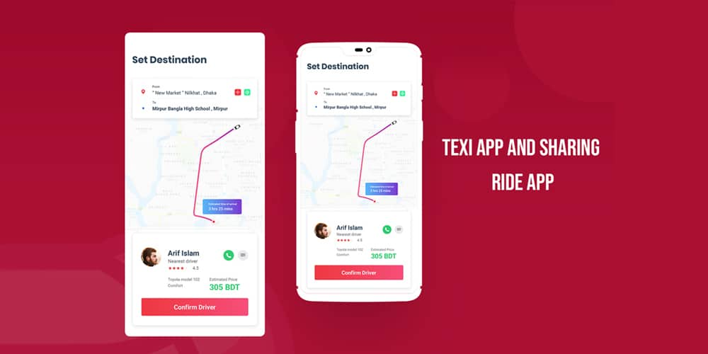 Ride Sharing App UI PSD