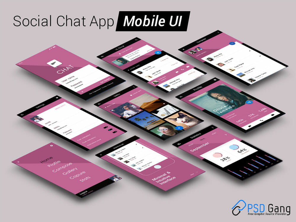 Social Chat App Mobile UI Template PSD