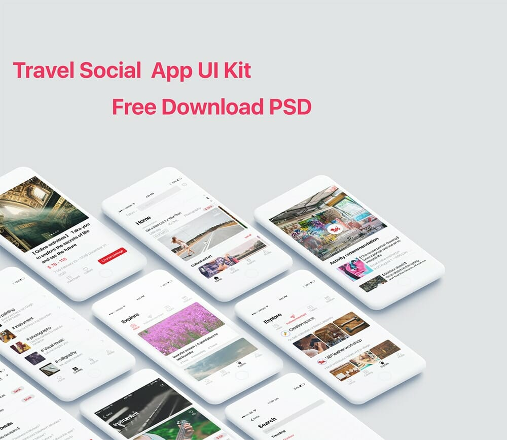 Travel Social App UI Kit PSD