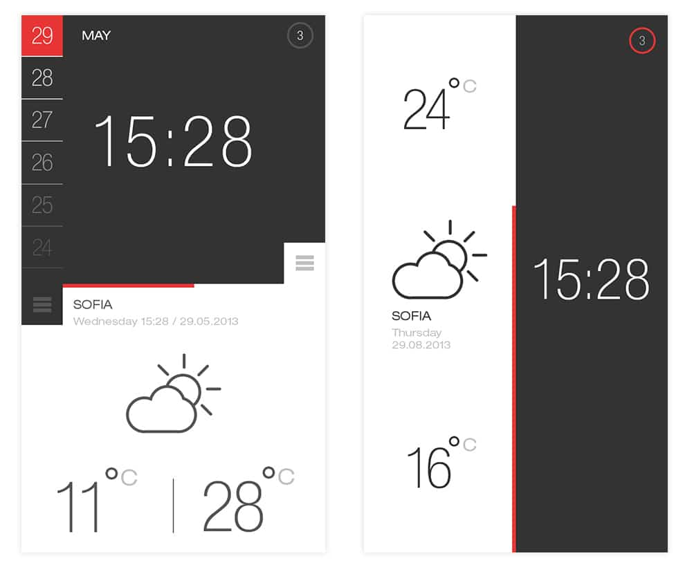 Weather and Time App UI PSD
