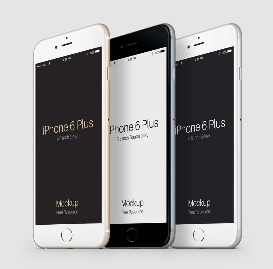 3-4 iPhone 6 Plus Psd Vector Mockup 2