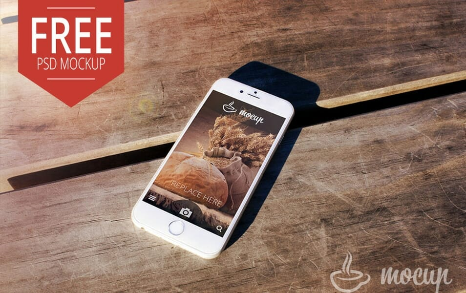 Free PSD iPhone 6 Mockup Desk