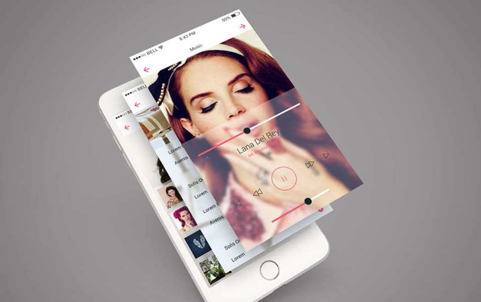 iPhone 6 App Screen PSD Mockup