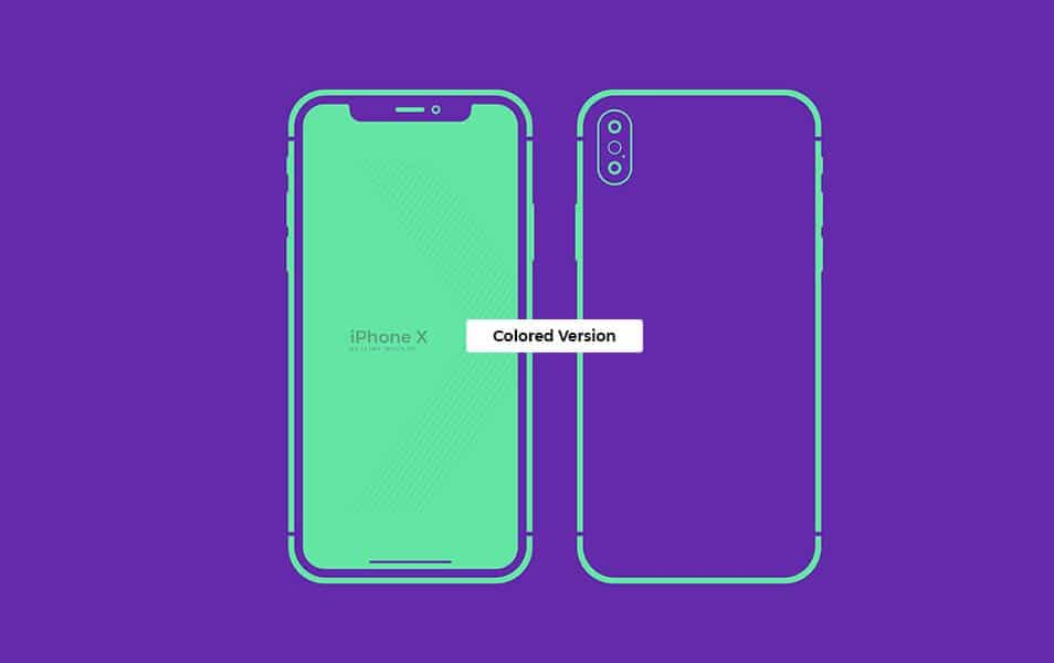 Free Outline iPhone X Mockup
