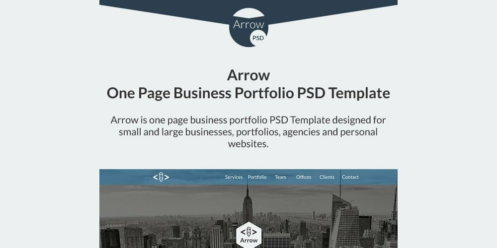 Arrow Free One Page Business Portfolio PSD Template