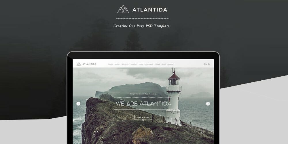 Atlantida Free Creative One Page Web Template PSD