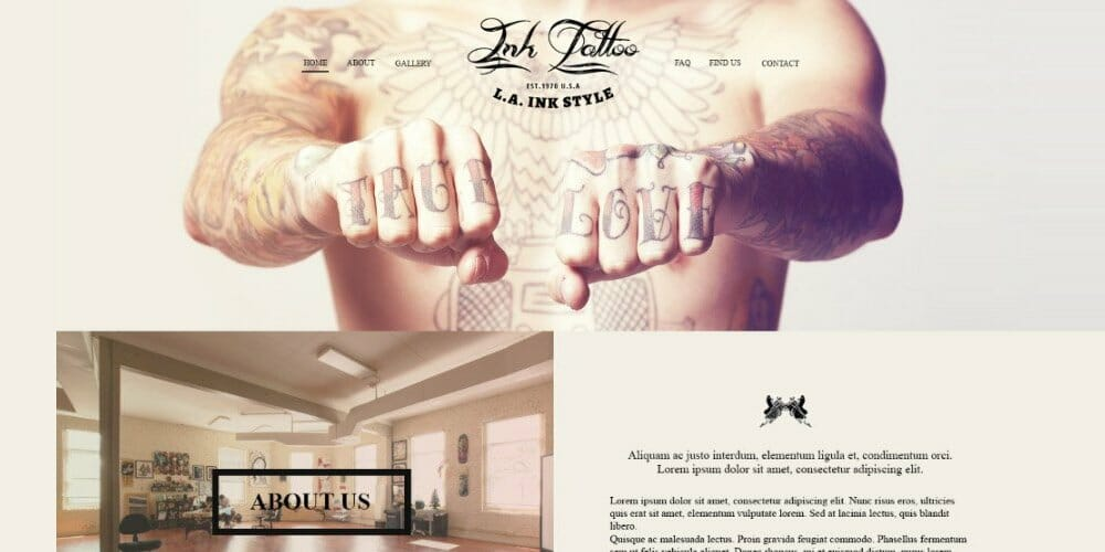 InkTattoo Free PSD One Page Template