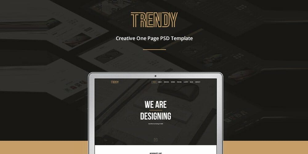 Trendy Creative One Page Template PSD