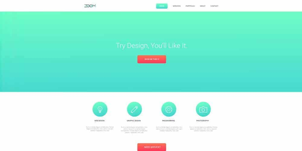 Zoom One Page Web Template