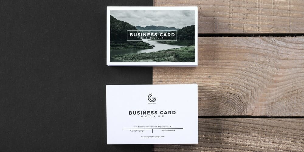 Business Card Mockup PSD With Wooden Texture Background