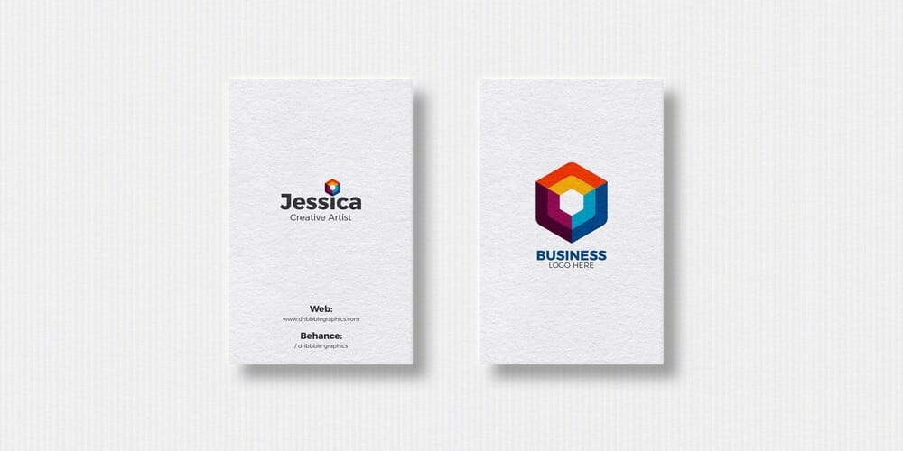 Free 2 Vertical Business Cards Mockup PSD