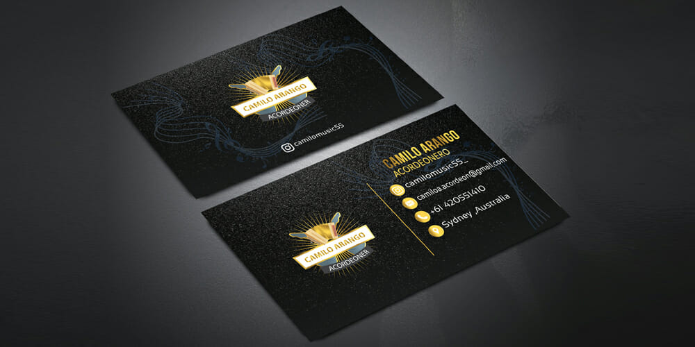 Free 8 Golden and Black Business Card Mockup PSD