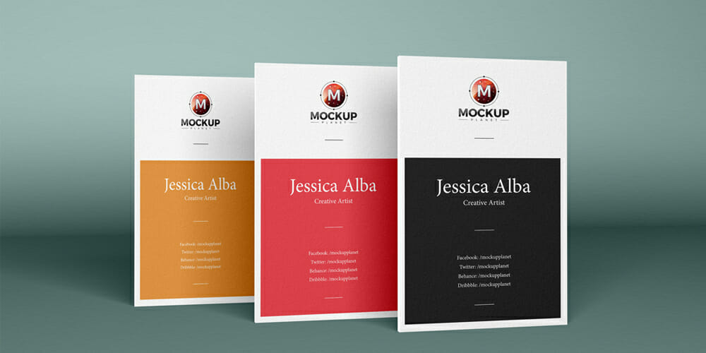 Free Brand Vertical Business Cards Mockup PSD