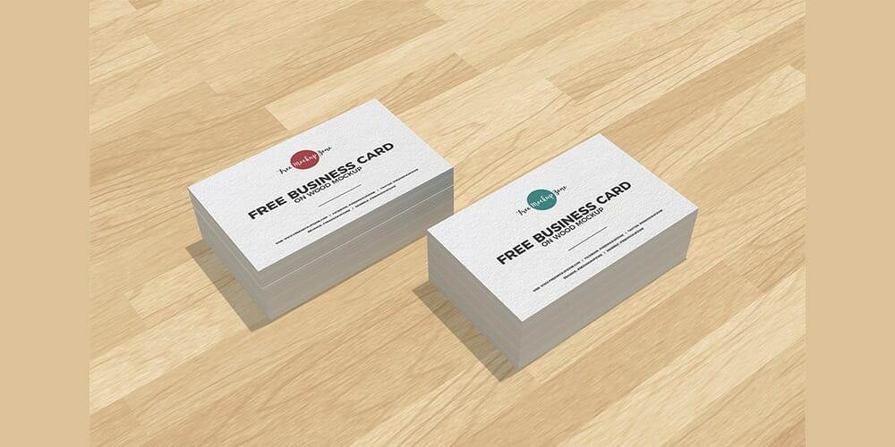 Free Business Cards on Wood Mockup