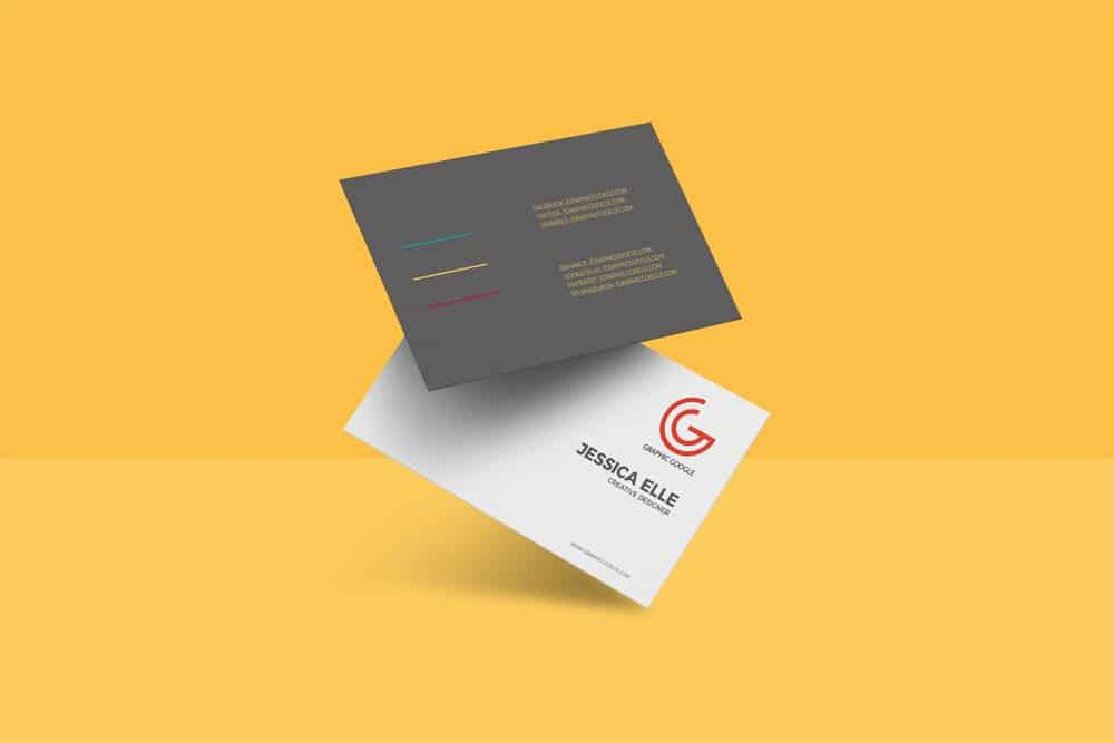 Free Floating Business Card Mockup