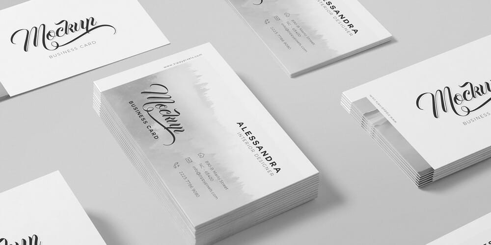 Free Isometric Business Card Mock Up PSD