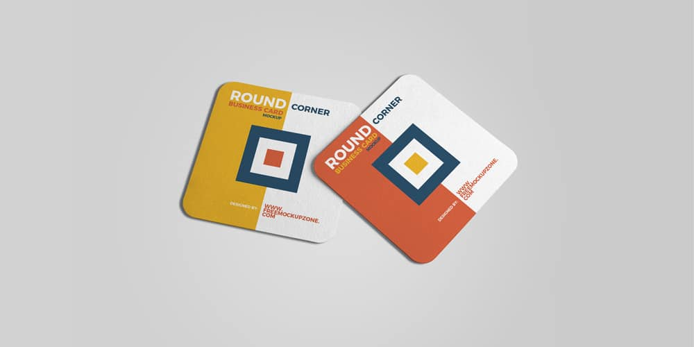 Free Square Round Corner Business Card Mockup PSD
