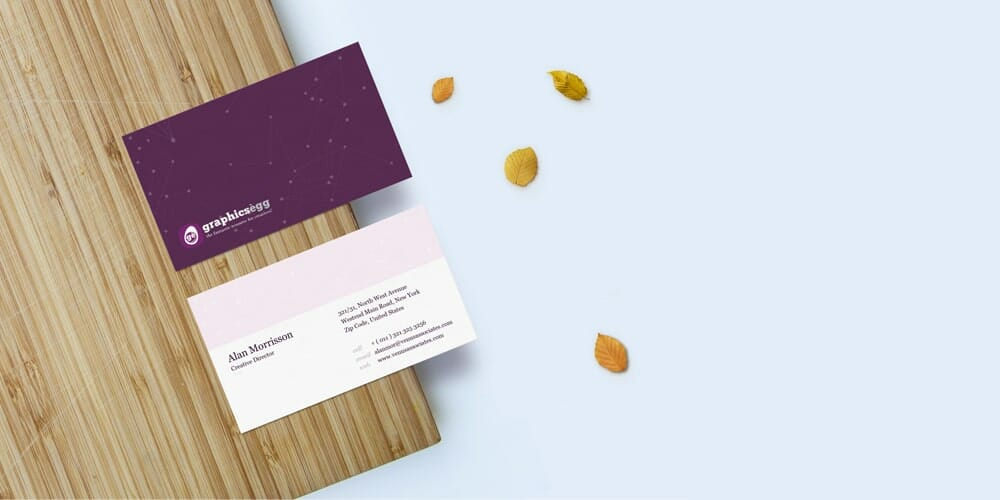 Front and Back Business Card Mockup PSD