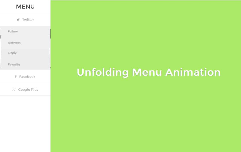 Unfolding Menu Animation