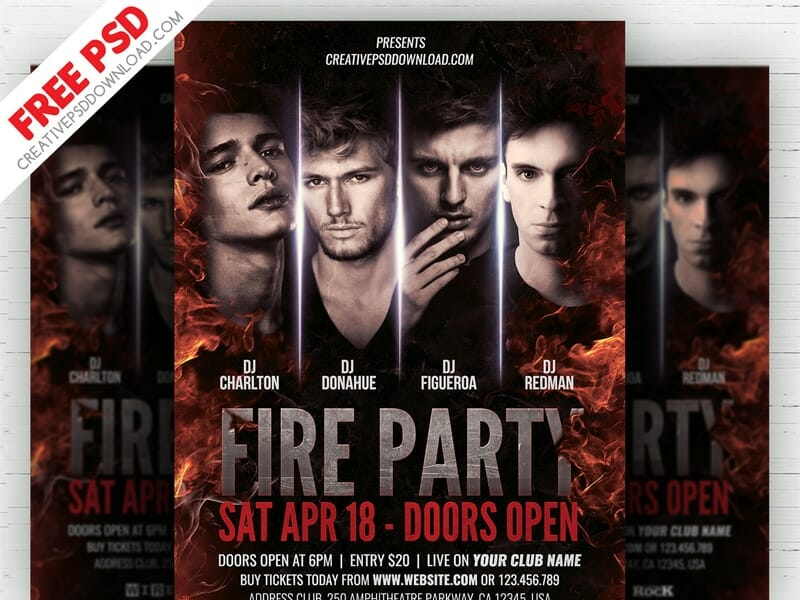 Fire Party Flyer Template PSD