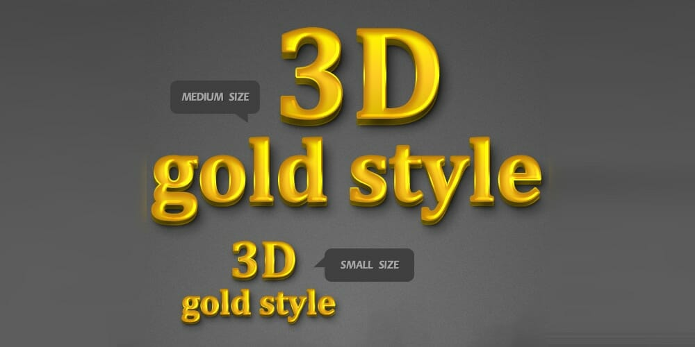 3D Gold Style PSD