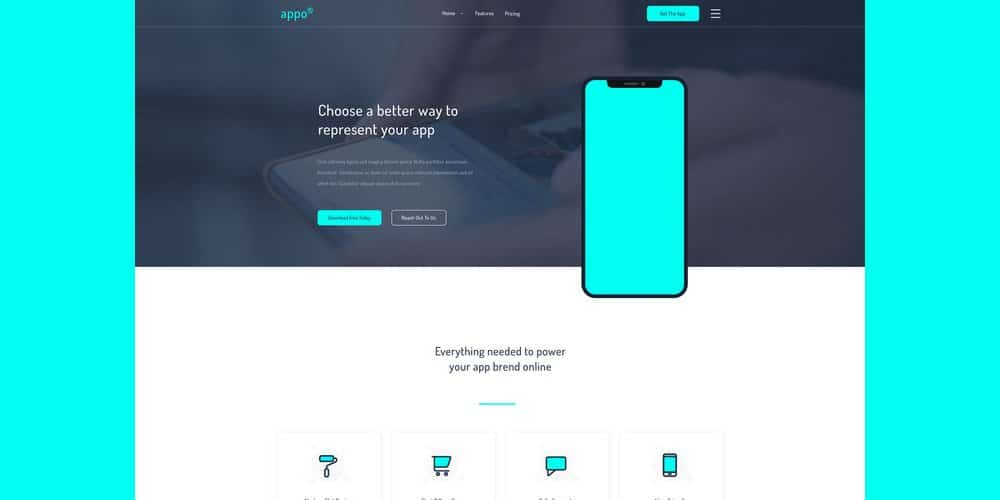 Appo Landing Page Template PSD