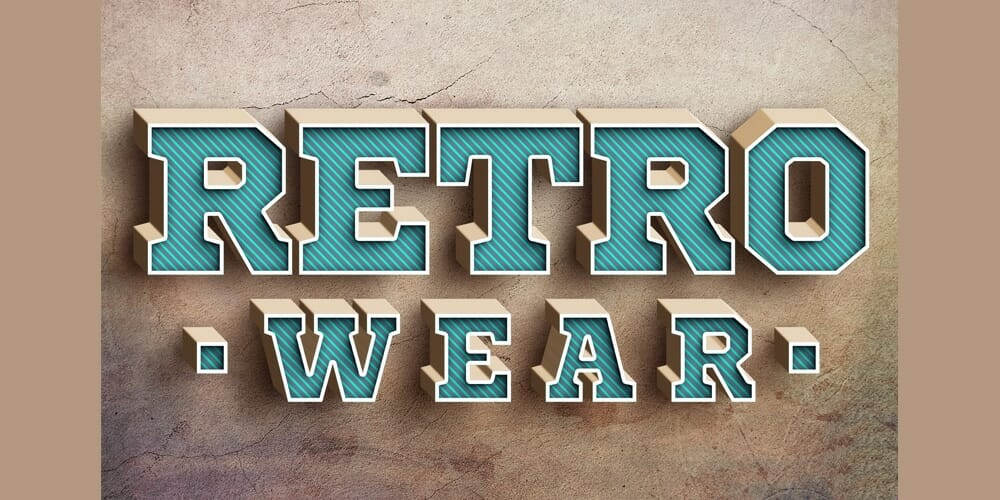 Blue Retro Text Style PSD
