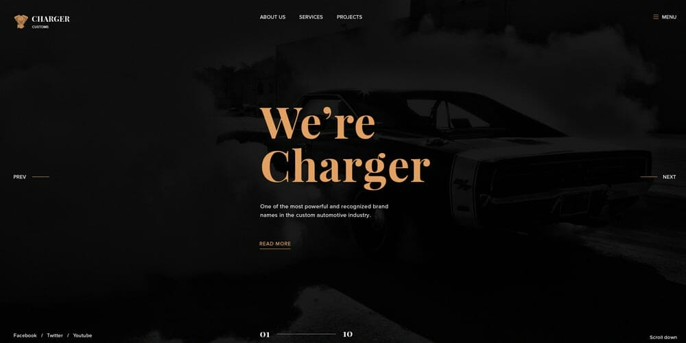 Charger Customs Web Template PSD