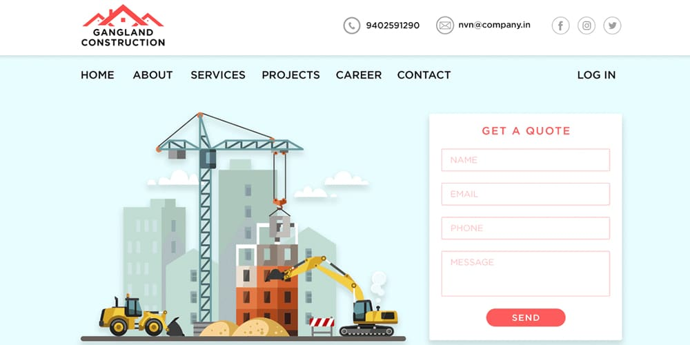 Construction Company Web Template PSD