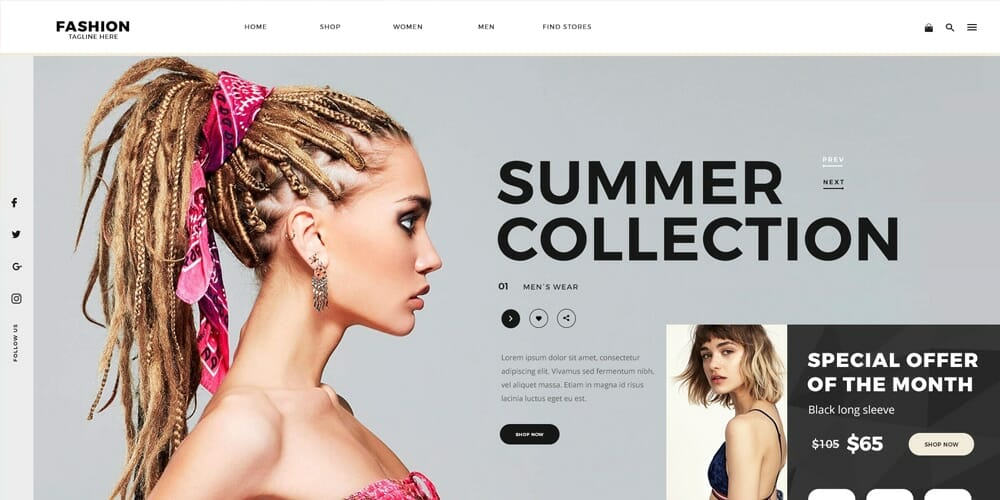 Fashion E-commerce Web Template PSD