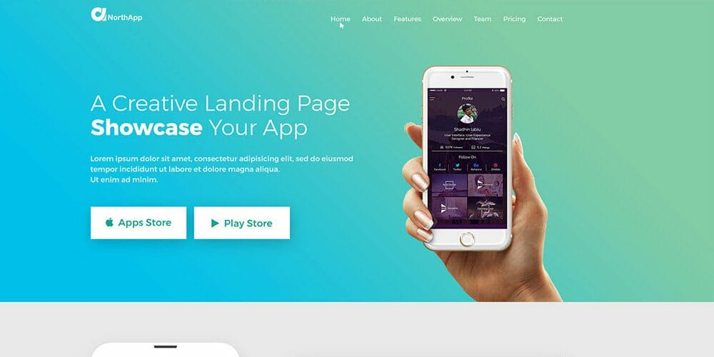Free Apps Landing Page Template PSD