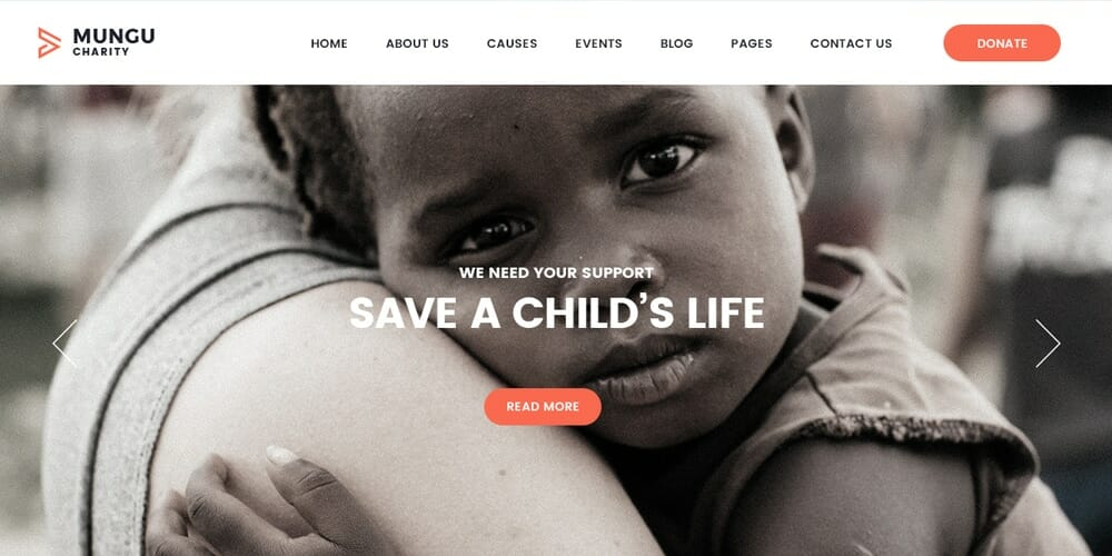 Free Charity Web Template PSD