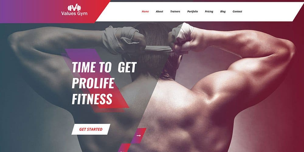 Free GYM Template PSD
