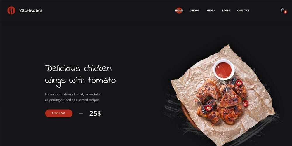 Free Restaurant Landing Page Template PSD