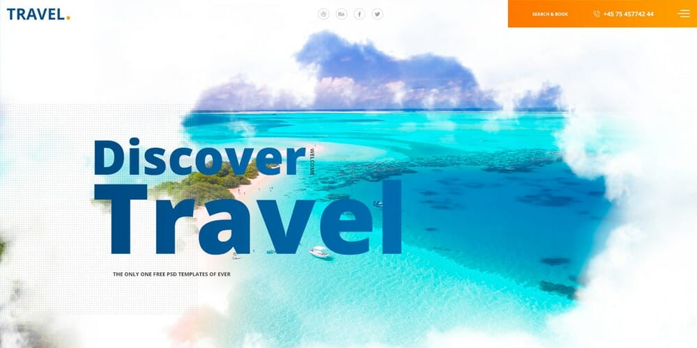 Free Travel Web Template PSD