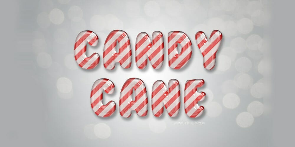 Glossy Candy Cane Text Effect PSD