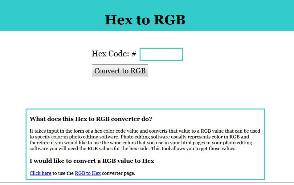 Hex to RGB Converter