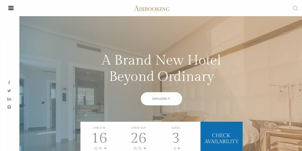 Hotel Booking Web Template PSD